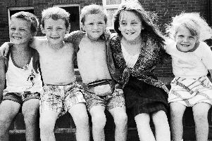 A group of friends enjoying the warm weather in Beech Hill in 1995