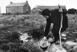 Hannah Hauxwell at her farm in the 1970s