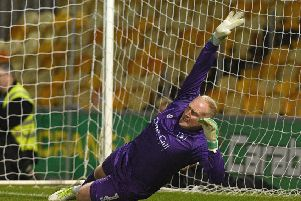 Picture: Andrew Roe/AHPIX LTD, Football, Carabao Cup First Round, Mansfield Town v Morecambe, One Call Stadium, Mansfield UK, 13/08/19, K.O 7.45pm''Mansfield's keeper Conrad Logan is beaten during the penalty shoot out'Howard Roe>>>>>>>07973739229