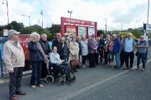 Dementia friendly Skipton group at Morecambe railway station.