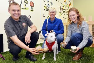 Barks and Co The Dog Shop grand opening at Peak Shopping Village, Rowsley. Gregg Bostock and Olivia Jones with customer Bev Wacey and dog Lexi.