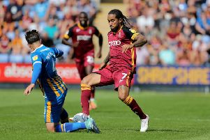 On the way back: Bradford City's Sean Scannell.