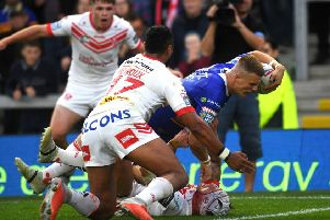 Ash Handley goes over to score against St Helens.