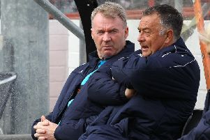 Chesterfield boss John Sheridan with his assistant Glynn Snodin.