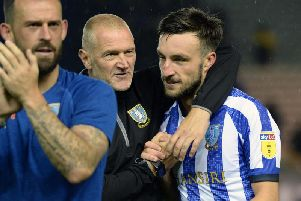 Lee Bullen, pictured with Morgan Fox at the final whistle following Sheffield Wednesday's 1-0 win over Luton Town.