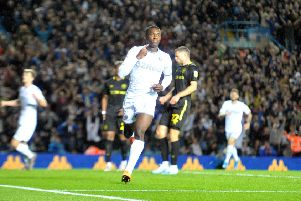 Leeds substitute Eddie Nketiah celebrates his winning goal at Elland Road.  Picture: Tony Johnson.