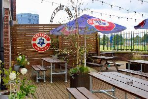 The new beer garden at The Tetley.