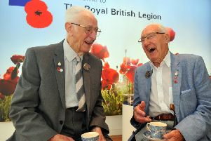 Normandy veterans  Jack Mortimer (left) from Leeds and Raymond Ashby from York  at the Royal British Legion in Leeds.