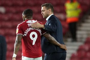 Middlesbrough's Britt Assombalonga and manager Jonathan Woodgate. Picture: Owen Humphreys/PA