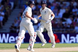 England's Joe Root and Joe Denly rebuilt Engl;and's second innings after the early losses of Rory Burns and Jason Roy. Picture: Mike Egerton/PA