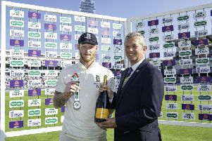 England's Ben Stokes is congratulated by Yorkshire Cricket Club's Chief Executive Mark Arthur with the man of the match award.