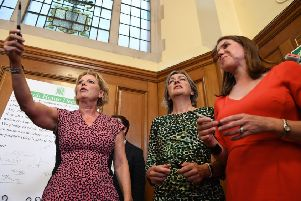 Anna Soubry, Liz Saville Roberts and Jo Swinson, during a meeting of a cross-party group of MPs at Church House, Westminster, where they will sign a declaration saying they will continue to meet as an alternative House of Commons if Prime Minister Boris Johnson temporarily shuts down Parliament to get a no-deal Brexit through.