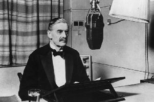 3rd September 1939: British Prime Minister Neville Chamberlain (1869 - 1940) in a BBC studio announcing the declaration of war. (Photo by Fox Photos/Getty Images)