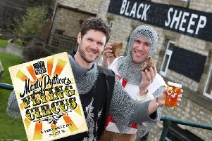 Black Sheep Managing director Rob Theakston (left) and marketing director Jo Theakston (right) dressed as knights from the Holy Grail film celebrate the 50th anniversary of Monty Python with the special Flying Circus cask beer.
