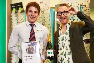 Finalist: Hugh Raine, right, is in the running for Specsavers' Spectacle Wearer of the Year award.