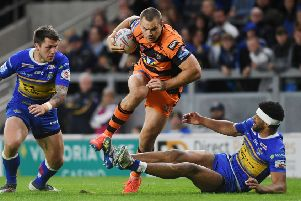 Cheyse Blair in rampaging action for Castleford Tigers at Leeds Rhinos earlier in the year. PIC: .Jonathan Gawthorpe/JPIMedia