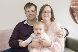 Sophie and Andrew Barr at home in Sheffield with daughter Patricia who has survived liver cancer with the help of an organ donation by her mum Picture Dean Atkins