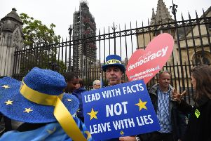Pro-EU supporters outside the Houses of Parliament.