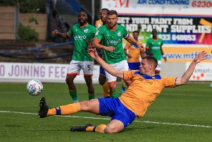 Picture John Hobson/AHPIX LTD, Sky Bet League Two, Mansfield Town v Scunthorpe United, One Call Stadium, Mansfield, UK, 07/09/19, K.O 3pm''Mansfields Matt Preston slides in on the ball to make it 1-0''Howard Roe>07973739229