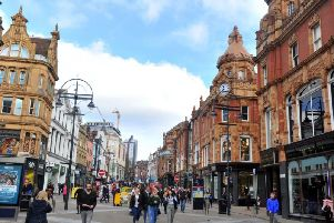 Shoppers on Briggate in Leeds Picture Gary Longbottom